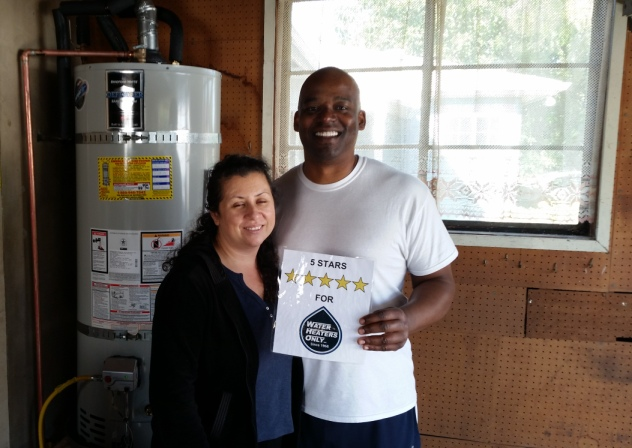 Happy water heater installation customers
